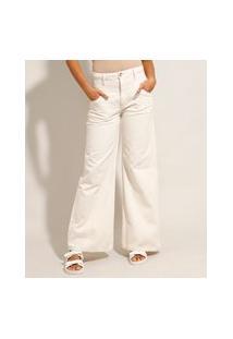 Calça Wide Pantalona De Sarja Com Recorte Cintura Média Off White