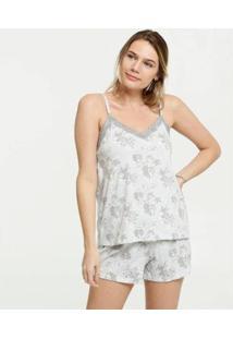 Pijama Estampa Floral Alças Finas Marisa Feminino - Feminino-Cinza