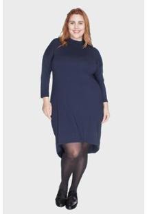 Vestido Bold Mullet Com Gola Alta Plus Size Feminino - Feminino-Marinho