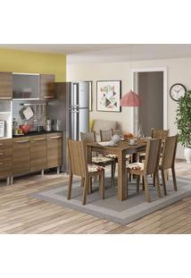 Conjunto De Mesa Com 6 Cadeiras Maris Rustic E Floral Hibiscos