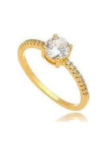 Anel Solitário Com Cristal Cravejado Com Zircônias No Banho Ouro - Feminino-Dourado