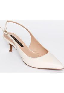 Sapato Chanel Em Couro Texturizado - Off White - Saljorge Bischoff