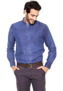 Camisa Perry Ellis Lisa Azul