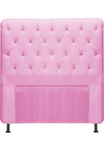 Cabeceira Para Cama Box Solteiro 100 Cm Paris Corino Rosa - Js Móveis