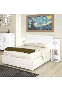 Cabeceira Casal Extensível 2 Criados-Mudo Palma Branco Kaiki Móveis