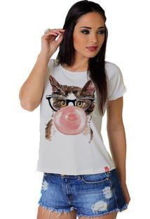 Camiseta Wevans Gato Chicle Branca