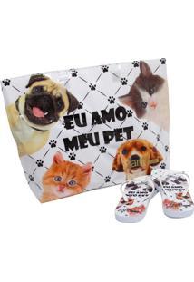 Kit Chinelo Zariff Shoes Animais + Bolsa Branco