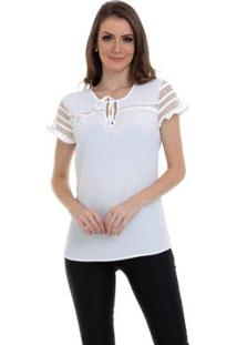 Blusa Crepe Manga Tule Feminina - Feminino-Branco