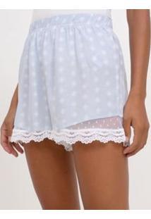 Short De Pijama Estampado Com Renda