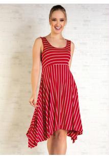 Vestido Curto Listrado Vermelho Com Saia Ampla
