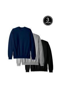 Kit Com 3 Blusas De Moletom Flanelada Fechada Part.B Preto Cinza Azul