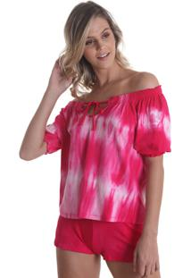 Blusa Ciganinha Tie Dye Rosa Líquido
