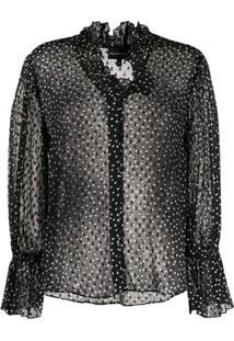 Emporio Armani Blusa Translúcida Com Estampa De Poás - Preto