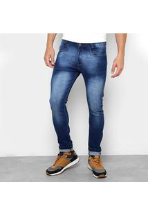Calça Jeans Skinny Opera Rock Masculina - Masculino-Azul