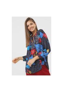 Blusa Cantão Floral Azul-Marinho