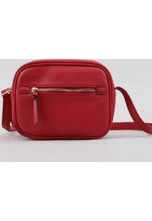 Bolsa Feminina Transversal Pequena Com Bolso Vermelha