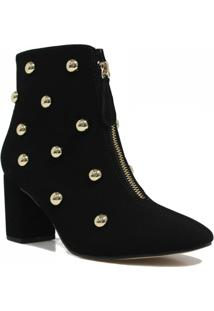 Bota Zariff Shoes Ankle Boot Zíper Feminino - Feminino-Preto