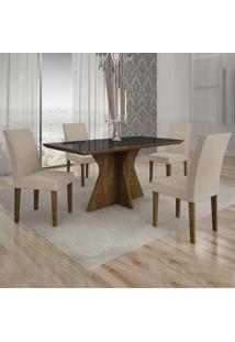 Conjunto De Mesa De Jantar Creta I Com 4 Cadeiras Olímpia Veludo Preto E Palha