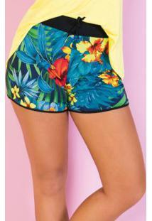 Shorts Floral Com Cós Largo