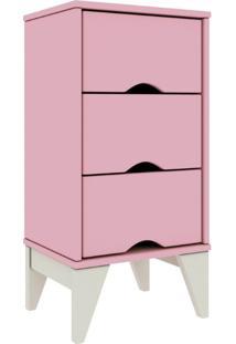 Mesa De Cabeceira 03 Gavetas Twister Tililin Móveis -Quartzo Rosa / Branco