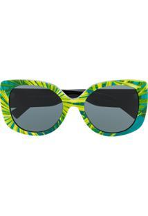 Versace Eyewear Óculos De Sol Oversized Com Lentes Coloridas - Verde