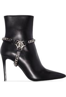 Balmain Ankle Boot Com Corrente - Preto