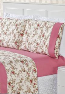 Jogo De Lençol Bia Enxovais Casal Estampado 4 Peças Naturalle - Floral Rosa