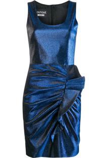 Boutique Moschino Vestido Com Franzido E Efeito Metálico - Azul