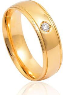 Aliança De Ouro 18K Anatômica Com Friso E Diamante