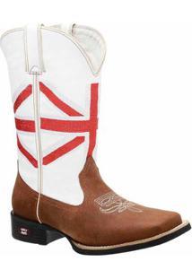 Bota Texana Em Couro Dexshoes Masculina - Masculino-Marrom+Branco