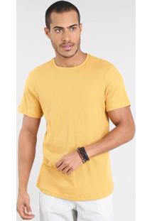 Camiseta Masculina Slim Fit Texturizada Manga Curta Gola Careca Mostarda