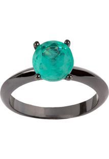 Anel Solitário The Ring Boutique Pedra Cristal Turmalina Fusion Ródio Negro