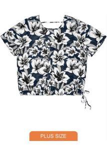 Blusa Estampada Feminina Rovitex Plus Size Azul