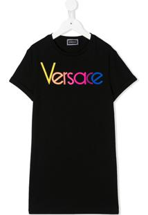 Young Versace Vestido Reto Com Logo - Preto