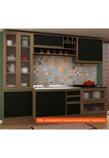 Cozinha Compacta Safira Ii 9 Pt 5 Gv Preta E Avelã