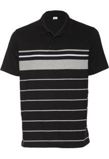 Camisa Polo Malwee Listras Preta/Cinza