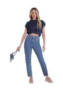 Calça Zinco Reta Cós Alto Resinada Jeans