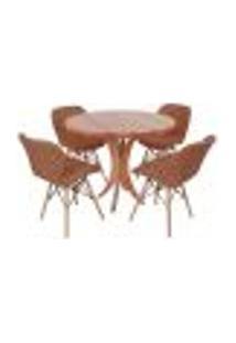 Conjunto Mesa De Jantar Tampo De Madeira 90Cm Com 4 Cadeiras Slim - Marrom