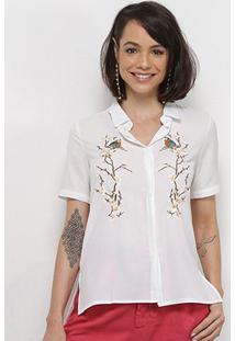 Camisa Extin Manga Curta Botões Bordado Feminina - Feminino-Branco