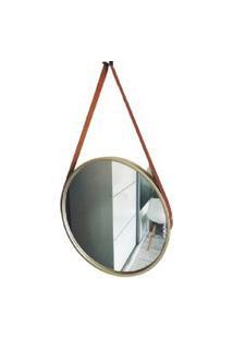 Espelho Decorativo Redondo Moldura Dourada 60Cm