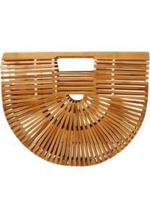 Bolsa De Madeira Bambu Design Vazado Similar A Cult Gaia - Feminino-Bege