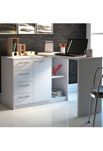 Mesa Para Computador Com 4 Gavetas E 1 Porta Logan – Artany - Branco