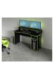 Mesa Escrivaninha Gamer Com 4 Nichos Tecno Mobili - Preto/Verde