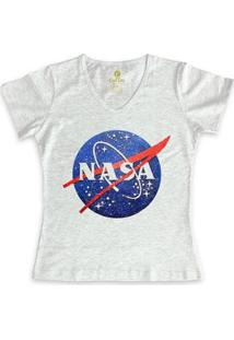 Camiseta Gola V Geek Cool Tees Nasa Vintage Feminina - Feminino-Mescla Claro