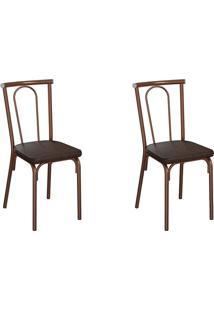 Conjunto Com 2 Cadeiras Albury Tabaco E Cobre