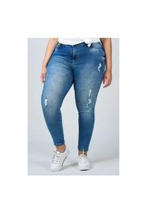 Calça Skinny Jeans Com Detalhe Rasgo Plus Size Azul Calça Skinny Jeans Com Detalhe Rasgo Plus Size Azul 48 Kaue Plus Size