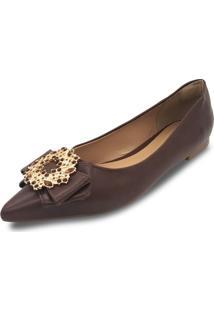 Sapatilha Anyp Shoes Confort Bico Alongado Em Atanado Café Com Pedra Em Folhas Marrom