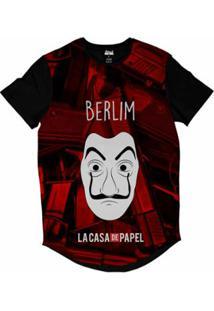 Camiseta Longline Attack Life La Casa De Papel Berlim Sublimada Masculina - Masculino-Vermelho