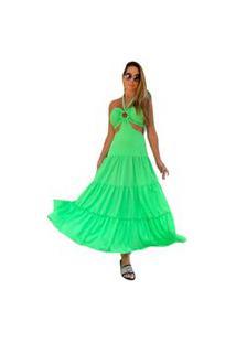 Vestido Midi Zarky Liso Verde