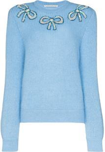 Alessandra Rich Suéter Com Aplicação De Laço - Azul